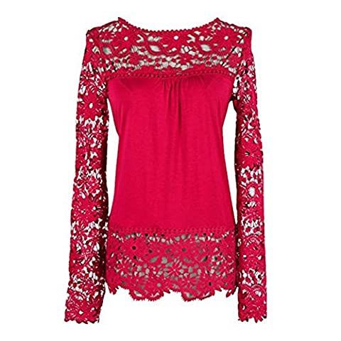 Elite99 Womens Casual Long Sleeve Embroidery Lace T Shirt Tops Blouse (Red,20)