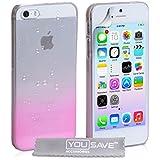 Coque iPhone 5 / 5S Etui Transparent / Rose Dur Hybride Goutte De Pluie Housse