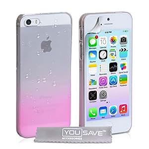 yousave accessories coque iphone 5 5s etui transparent rose dur hybride goutte de pluie housse. Black Bedroom Furniture Sets. Home Design Ideas
