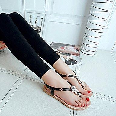 LvYuan Damen-Sandalen-Outddor Kleid Lässig-Tüll PU-Flacher Absatz Keilabsatz-Komfort-Schwarz Weiß Black