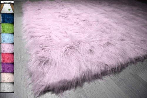 Flokati-Stil Hochflor Shaggy Teppich Ameiny Colours - In bunten Farben und kuschelweich (Läufer/Bettvorleger, 40 cm x 200 cm, Lila)