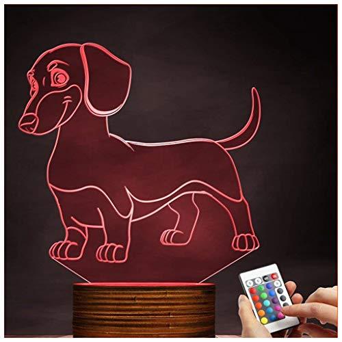 Chengyd 3D LED Lampe optische täuschung dackel nachtlicht 16 Farben mit Fernbedienung Desktop Decor Lichter Geburtstagsgeschenk mit acryl Tablet und Holz Dock und USB Kabel (Wars Star Dackel)