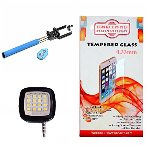 Konarrk 3 in 1 Combo Of MICROMAX Q385 Tempered Glass , Selfie stick Blue and Selfie Flash Black