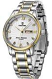 Findtime Herren Uhr Analog Quarzwerk mit Edelstahl Armband Silber Goldene Kalender Datum
