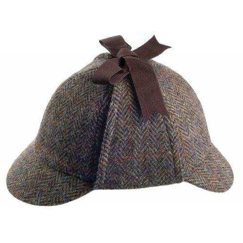 Failsworth Sherlock Holmes Hut aus Harris Tweed - Olivgrün-Blau - M