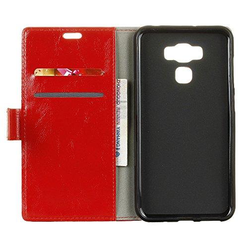 COVO® PU+TPU Kunstleder Brieftasche Hülle für ASUS ZenFone 3 Deluxe (ZS550KL) mit Stand Funktion (Rot)