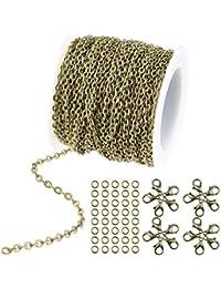 b5a2eca8af54 wxj13 36 pies 12 m Color de bronce chapado en Cable redondo cadena de  enlace collar con cierres de langosta 20 y 30 anillos de salto para…