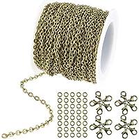 wxj1336pies/12m Color de bronce chapado en Cable redondo cadena de enlace collar con cierres de langosta 20y 30anillos de salto para collar joyas accesorios DIY Making, 2,5mm de ancho