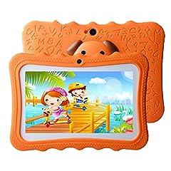 Idea Regalo - Tablet per Bambini 7 Pollici Con WiFi offerte 16GB - Android 8.1 Quad Core - Supporto Youtube Google Play 1 a 12 Anni Educativo - Arancia