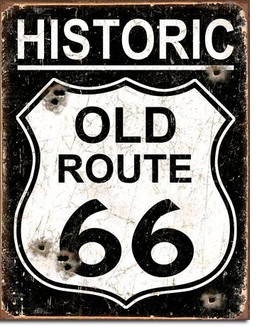Route 66 (Tin Sign Nostalgie-Blechschild - Old Route 66 - Weathered 31x40cm)
