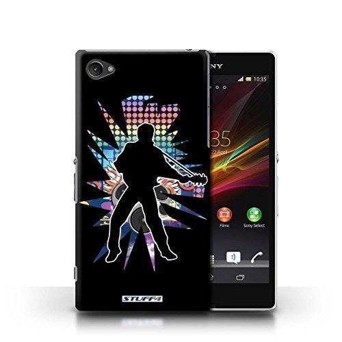 Kobalt® Imprimé Etui / Coque pour Sony Xperia Z1 Compact / Solo Blanc conception / Série Rock Star Pose Elvis Noir