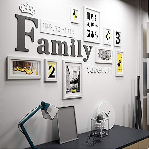 Wohnzimmer-zubehör-set (Massivholz Familienfoto Wand Schwarz Einfache Collage Bilderrahmen Galerie Set Weiß Moderne Multi Bilderrahmen Wand Set Für Wohnzimmer Schlafzimmer 9 Stück Set Komplettes Zubehör)