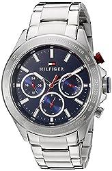 Tommy Hilfiger Mens 1791228 Hudson Analog Display Japanese Quartz Silver Watch