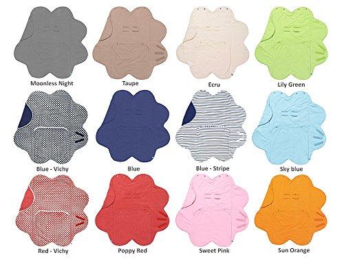 Wallaboo Einschlagdecke Fleur für Babyschale, Autokinderstitz, für Kinderwagen, Suße Blumenform, 0 - 12 Monaten, Farbe: Rosa
