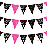 3.7M Pink Hen Night Bunting Flags Ideal for Your Hen Night and to Make the Party Even More Fun! Girls Night Out, Bride to Be, Maid Of Honor, Bridesmaids, Wedding Celebration, Special Occasion. (Bunting)