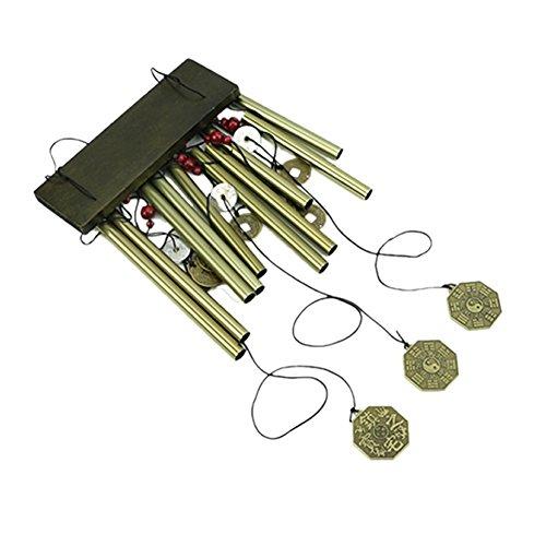 MOOUK bronzo antico a vento appeso bronzo tubi grande scacciaspiriti retro a vento con magical antiche monete cinesi decorative per yard Garden Outdoor Living, Shape 2, 8.5cm/3.35inch