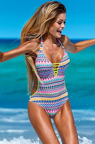 Lorin L4067/7 Badeanzug Dame Monokini Aztekisch Neckholder mehrfarbig