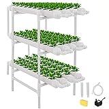 TOPQSC 108 Hoyos 12 Tubos Sistema de Cultivo Hidropónico de Cultivo Sin Suelo, Kit de Cultivo de Sitio Hidropónico Sin Suelo Sistema de Planta de Jardín de Cultivo de Agua para Fresas y Vegetales