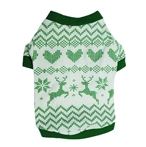 YiJee Noël Pet Wapiti Imprimé T-Shirt Puppy Chien Manche Courte Vest Vert XS