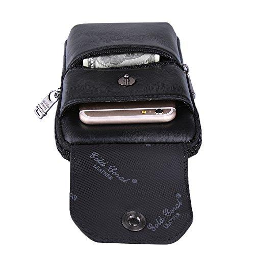 Genda 2Archer Leder Gürteltasche Taille Geldbörse Telefon Tasche Braun  Schwarz e5e93a6576