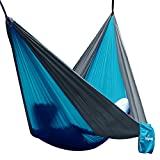 Hängematte Camping Hammock Single/Double Parachute, leicht und tragbar, mit extra Schlafaugenmaske Augenbinde Blindfold für für Outdoor/Camping/Reisen (Double, Himmelblau/Grau)