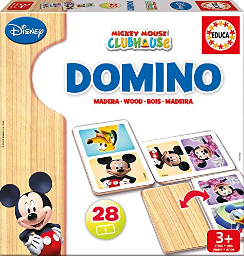 Educa Borrás Disney Dominó de Madera con Motivo de Mickey y Minnie, Color (16037)