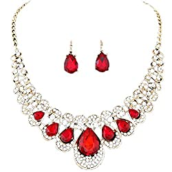 Quistal Women Rhinestone Crystal Necklace And Earring Set Jewelry Set