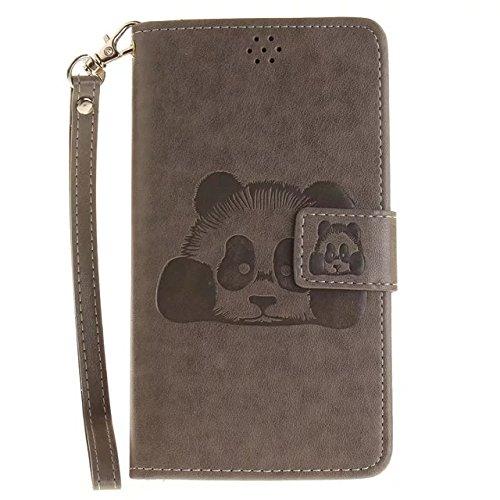 Etsue Handytasche für iPhone SE/iPhone 5S lila, Brieftasche Hülle für iPhone SE/iPhone 5S [Mädchen Schmetterling] Muster Lederhülle Handyhülle Einzigartig Flip Hülle Leder Schutzhülle Vintage Wallet C Karikatur Panda,Grau