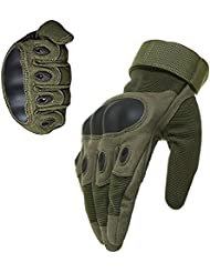 1par ventilar alfombrilla antideslizante de fibra de carbono Kevlar guantes de dedo completo al aire libre moto ciclismo racing guantes guantes de esquí patinaje senderismo (ejército verde, M)