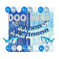Baby Shark Party Supplies Decorations DOO DOO Foil Balloons Shark Birthday Banner for Baby Shower 1st 2nd Birthday Party set