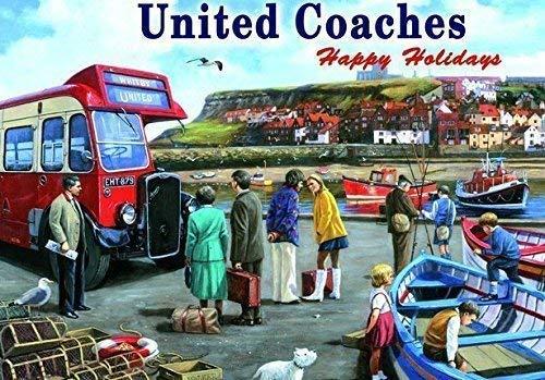 United Steel Deck (United BUSSE,. Happy Holidays zu 1960's Whitby Sea Side. Booten in Hafen und rot Single Deck Bus. Für Haus, Home, Garage, Shop oder Pub. Metall/Stahl Wandschild, stahl, 30 x 40 cm)