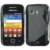 PhoneNatic Samsung Galaxy Y Hülle Silikon schwarz S-Style Case Galaxy Y Tasche + 2 Schutzfolien