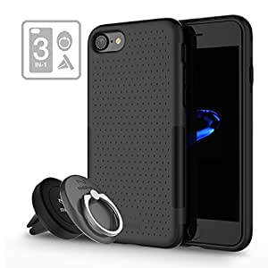 Dual Layer Shockproof Case for iPhone 7, multifun Phone Case with Magnetic Air Vent Car Mount, Rugged Phone Case with 360 Rotating Ring Grip Holder Kickstand 3-in-1 for iPhone 7 4.7 inch