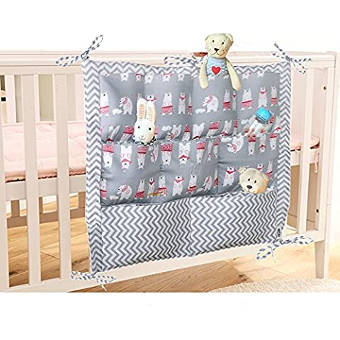 Lovely Baby Nursery Organiser Cotton Hanging Storage Bag for Bedside Crib Cot Changing Table