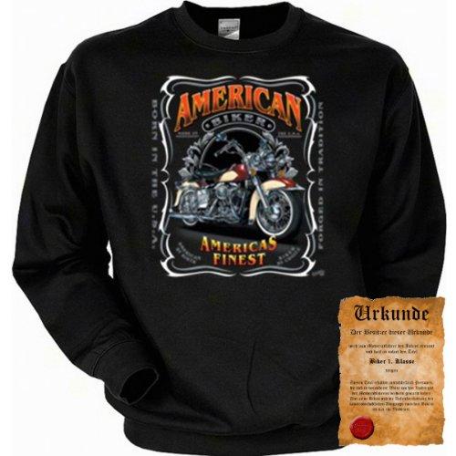 cooles Biker Sweatshirt + Ukunde - Motiv American Bikers - Sweater Herren Motorrad Pulli Geschenk Weihnachten Geburtstag