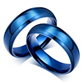 Bishilin Mode Paarepreise Homosexual Ringe Edelstahlring für Paar Matte Fertig Hochglanzpoliert Rund Breite 6MM Trauring Partner Blau Ringe Paar Gr.54 (17.2)&Gr.57 (18.1)