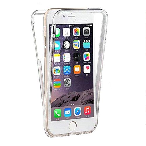 Handyhülle für iphone 7 Plus Silikon,iphone 7 Plus Hülle 360 Grad Schutz Vorne Hinten Touch Case,SKYXD Rundumschutz Gelb/Blau Farbverlauf Full Body Cover Gradient Dünne Weich Rückseite Handy Tasche Pr # Transparent