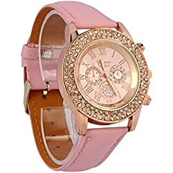 Atdoshop(TM)Hot Seller Vogue Women Ladies Crystal Dial Quartz Analog Leather Bracelet Wrist Watch