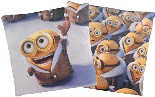 Doppelseitiges Minions Kissen: Arktis Bob mit Mantel / Minion Crowd, 40x40 cm (Label Kissen Bett Kissen)