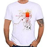 Jaminy Men's Shirt Plus Size White Prints Blouse Slim Fit Short Sleeve Top Blouse (XL)