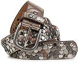 styleBREAKER Nietengürtel im Vintage Design mit echtem Leder, verschiedenen Nieten und Strass, kürzbar, Damen 03010051, Farbe:Antik-Gold;Größe:95cm