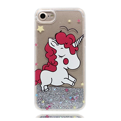 iPhone 6 Custodia liquida,iPhone 6S copertura,Cool Creative Cristallo trasparente liquido traslucido lucido Bling Glitter Copertina case cover per iPhone 6 / 6S 4.7inch,Unicorno colour 5