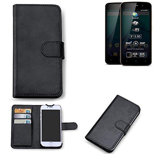 K-S-Trade 360° Wallet Case Allview P6 Plus Schutz Hülle Smartphone Flip Cover Flipstyle Tasche Schutzhülle Flipcover Slim Bookstyle Walletcase schwarz, 1x
