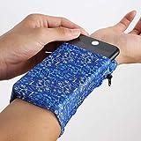 Clarmonde 2 Pocket Wrist Wallet Handgelenk Handyhalter, Knöchel Geldbörse, Schweißbänder, Armband, versteckte Tasche, Lauftasche (Size M, 3.9
