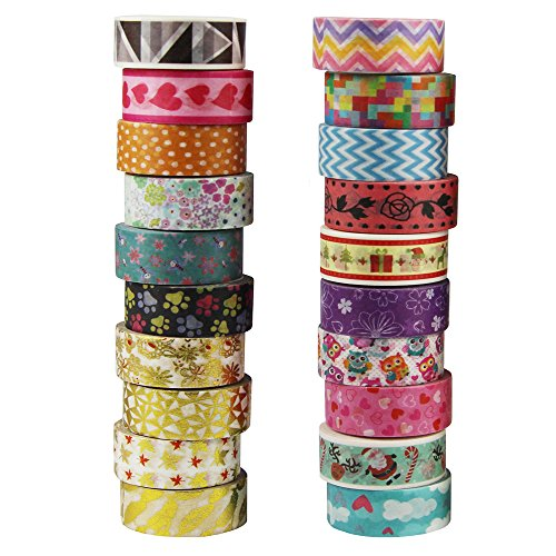 EDGEAM Washi Tape 20er Set Klebeband Dekoband Masking Tape in Verschiedenen Mustern15mm X 4m (Style-1) Baby-chevron Band