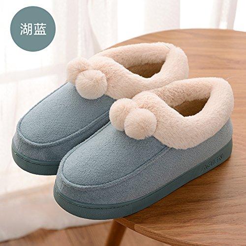 DogHaccd pantofole,Inverno piscina home soggiorno con anti-slip di cotone pacchetto di pantofole con un paio di uomini e di donne spesso calda felpa pantofole a sfera Il lago blu2