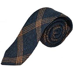 King & Priory Corbata A Cuadros Color Azul Vaquero Y Naranja En Tela Birdseye