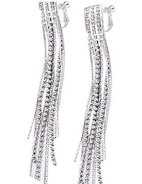 Latigerf Silber-Ton lange Quaste wieder Non-Pierced Ohrclips Ohrring Clips für nicht durchbohrte Ohren