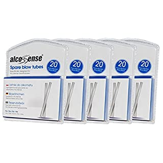 AlcoSense 100 Breathalyser Blow Tubes (5 Packs of 20) - Suitable for the Lite, Elite, Excel, Pro and Ultra Breathalyzer