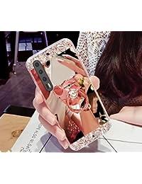 Funda Huawei P20 Pro, Huawei P20 Pro, ikasus Bling Diamante Glitter Goma Chapado Espejo Maquillaje Funda con Soporte Oso Soporte Kickstand Suave TPU Parachoques Carcasa para Huawei P20 Pro,